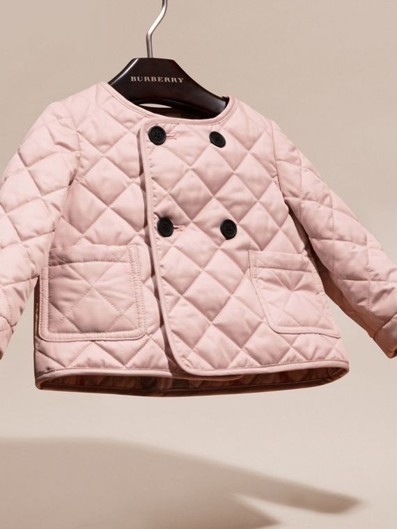 Powder pink Collarless Diamond Quilted Jacket - cell image 2