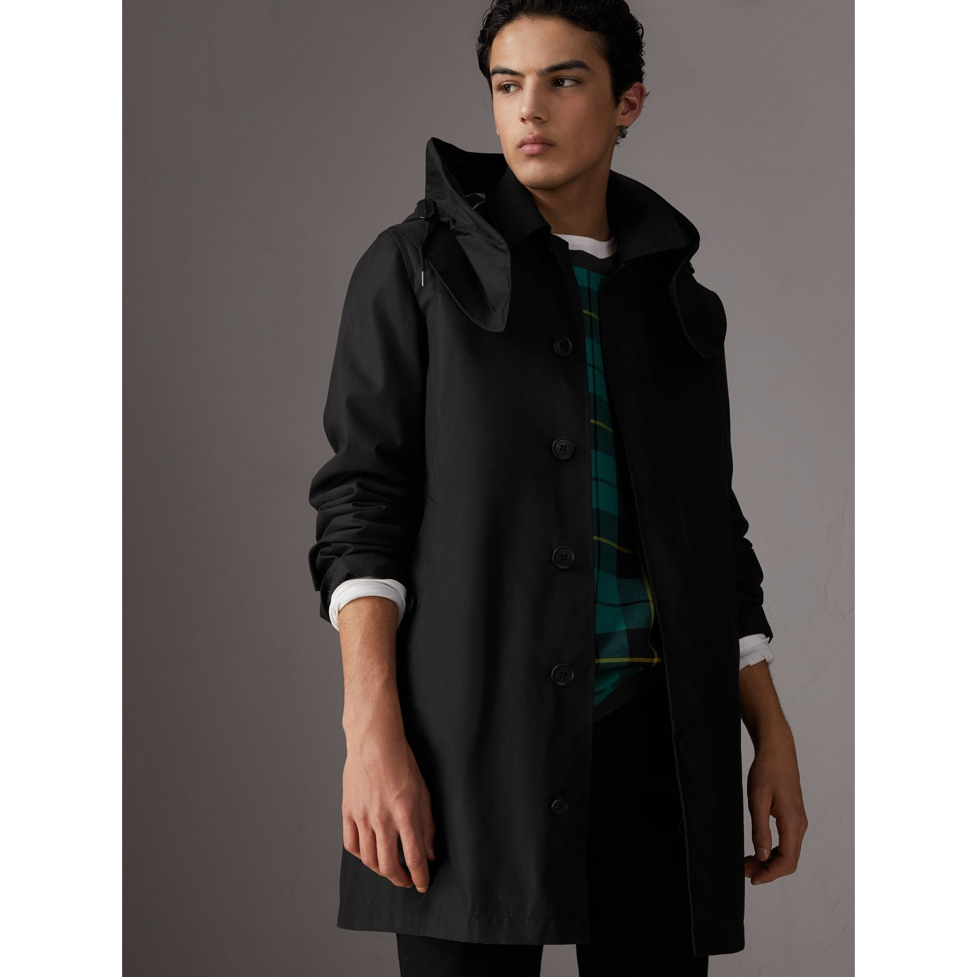 Detachable Hood Cotton Blend Car Coat with Warmer in Black - Men | Burberry - gallery image 5
