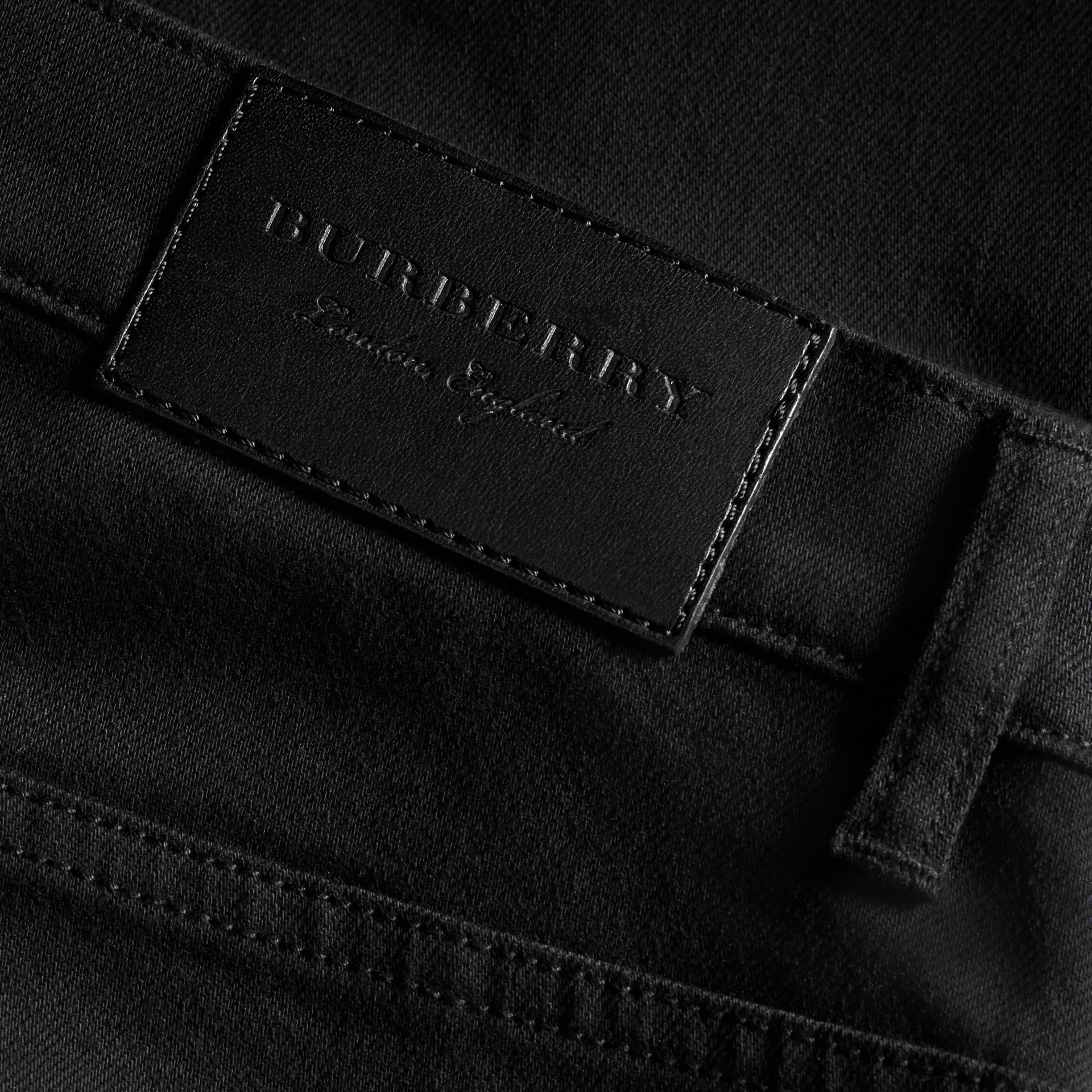 Relaxed Fit Stretch Jeans in Black - Men | Burberry - gallery image 2