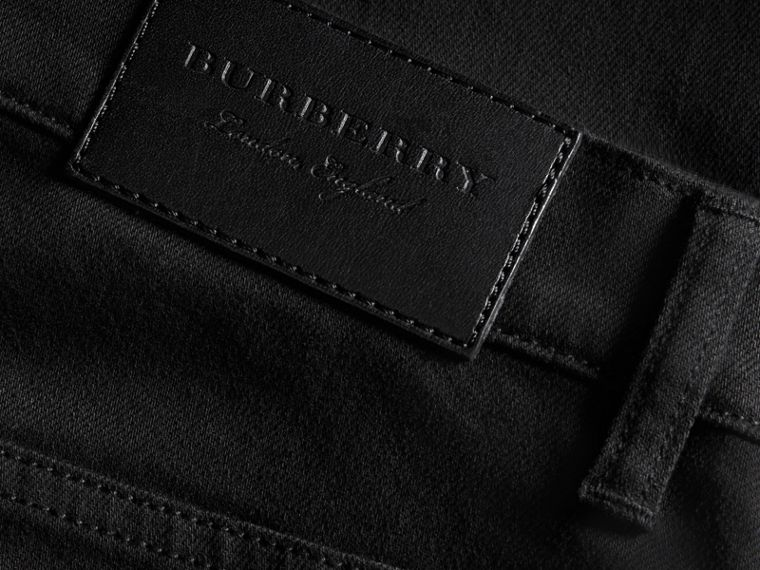 Relaxed Fit Stretch Jeans in Black - Men | Burberry - cell image 1