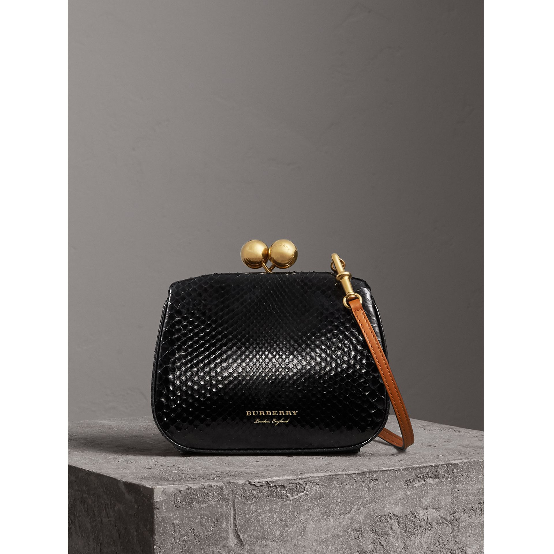 Small Two-tone Python Metal Frame Clutch Bag in Black - Women | Burberry - gallery image 0