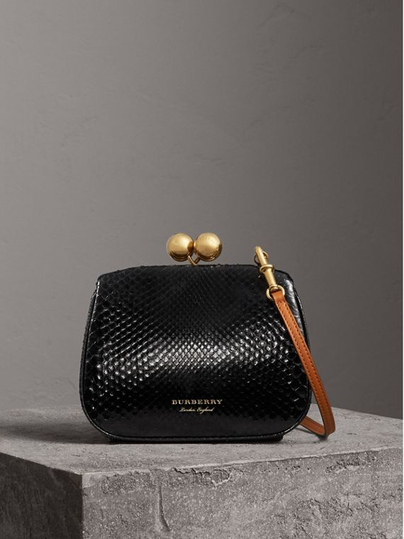 Small Two-tone Python Frame Bag in Black