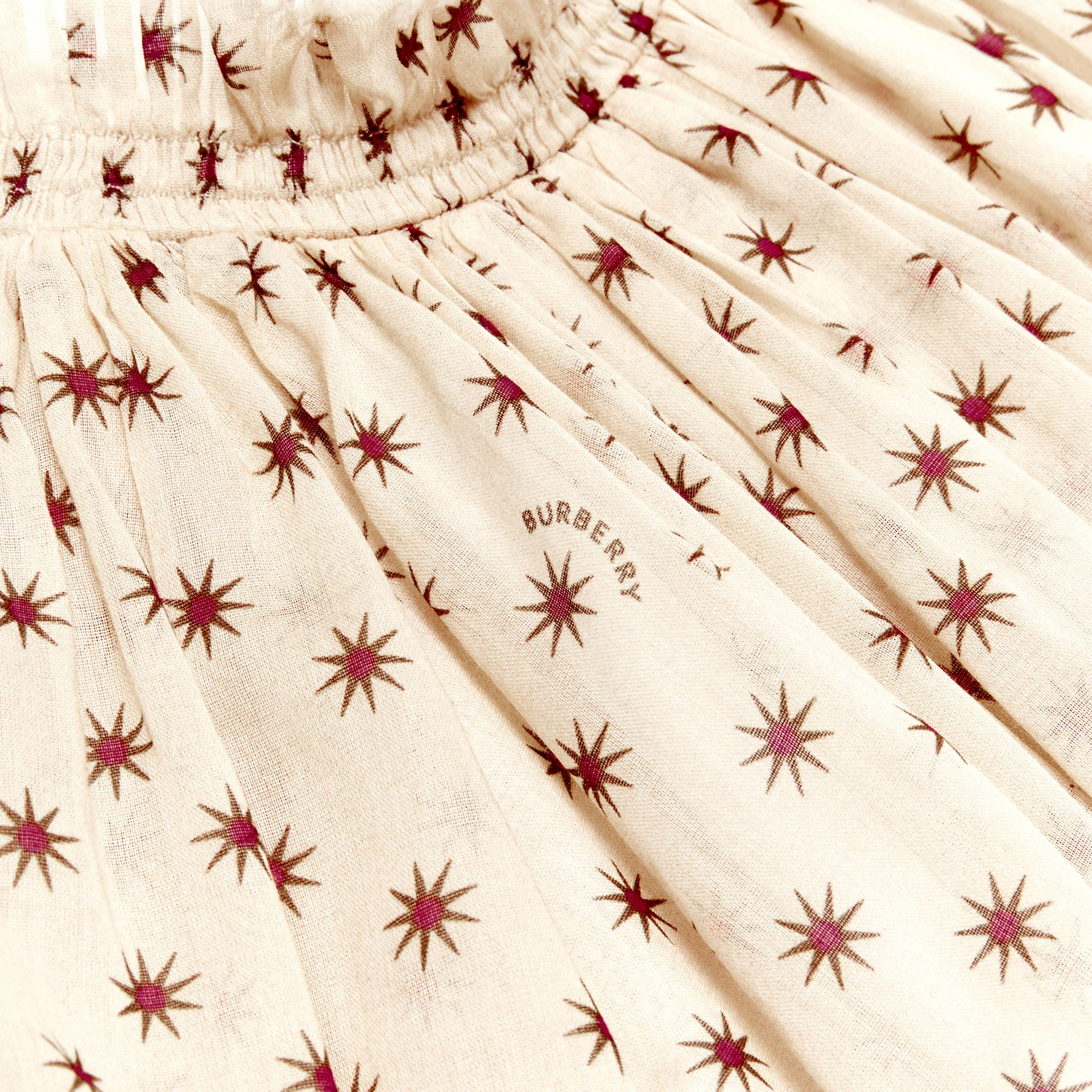 Star Print Gathered Cotton Dress in Military Red - Children | Burberry United Kingdom - gallery image 1