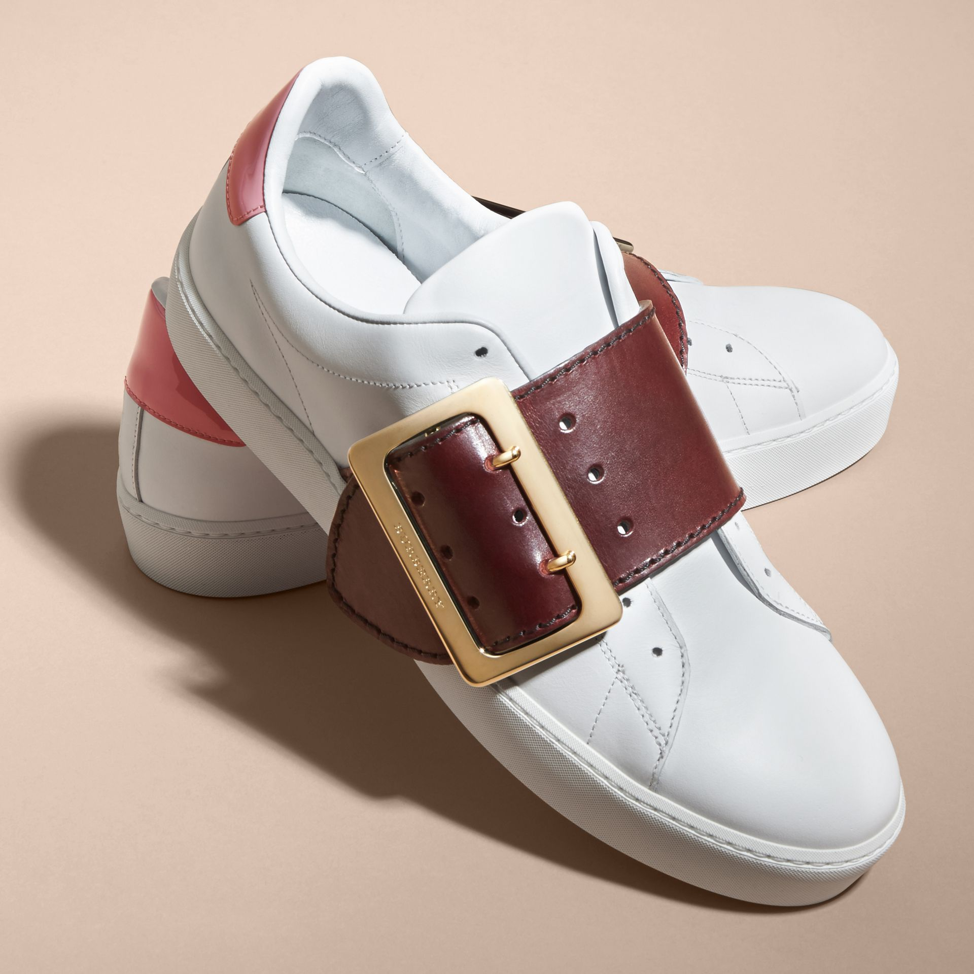 Buckle Detail Leather Trainers Optic Wh/cerise Purp - gallery image 2