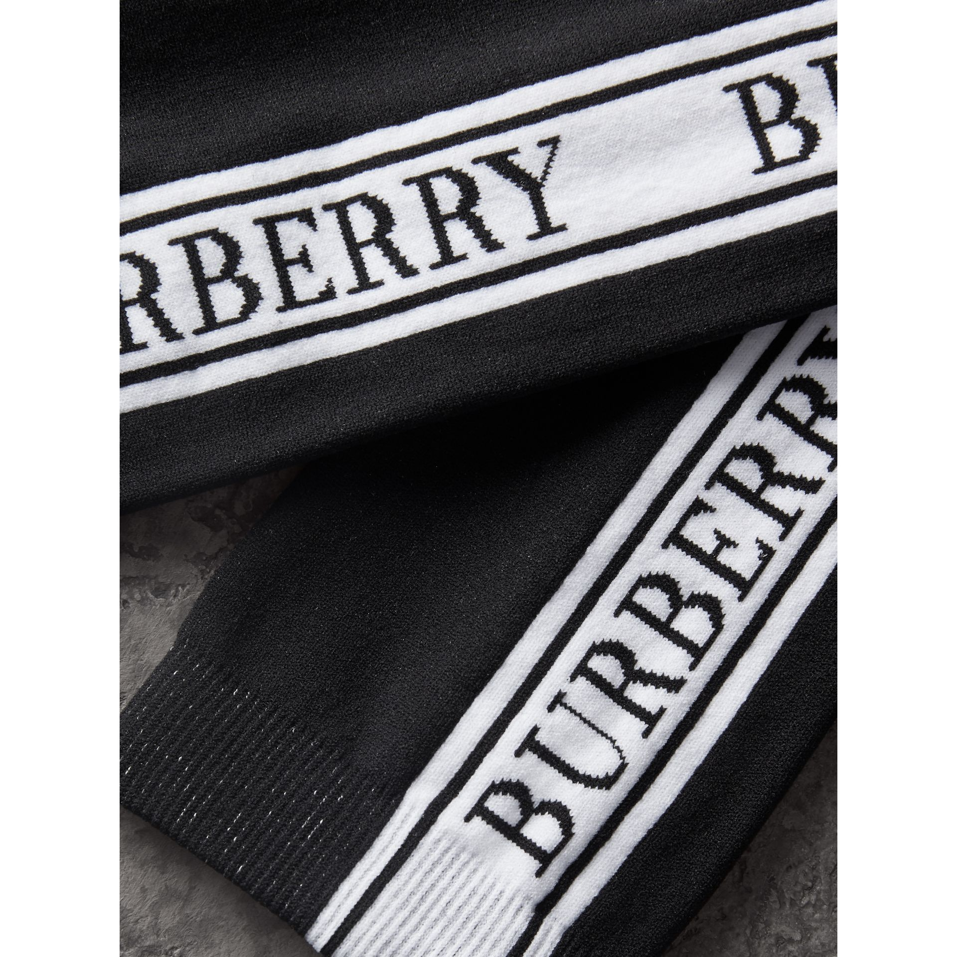 Logo Technical Knit Socks in Black | Burberry - gallery image 1