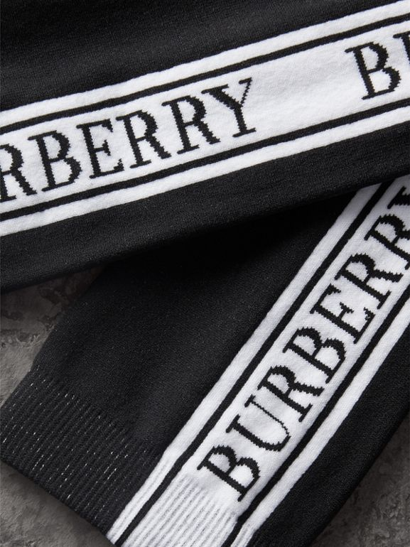 Logo Technical Knit Socks in Black | Burberry United Kingdom - cell image 1