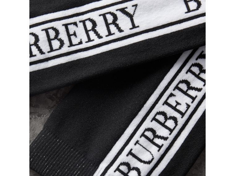 Logo Technical Knit Socks in Black | Burberry - cell image 1
