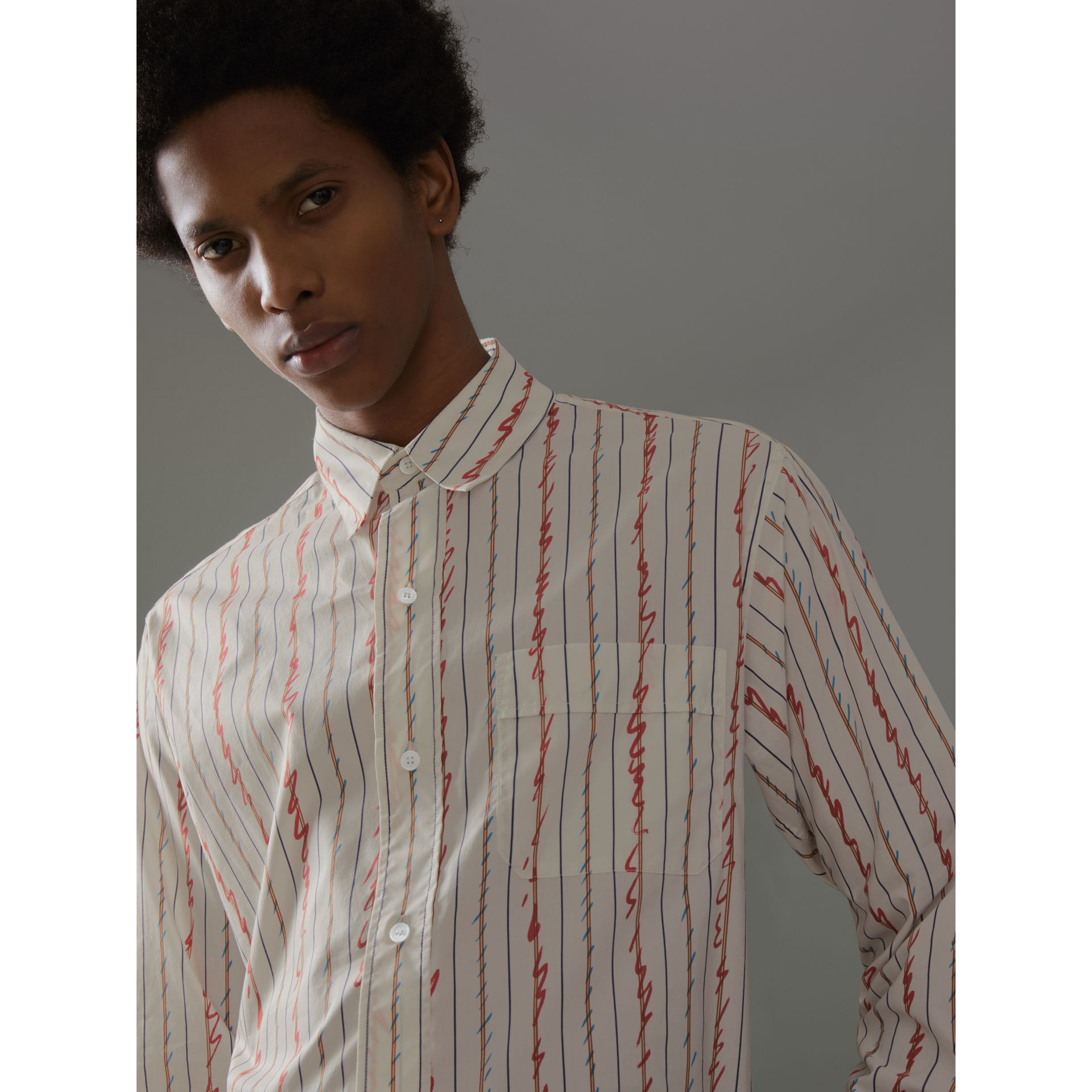 Scribble Stripe Cotton Shirt in Red - Men | Burberry - gallery image 1