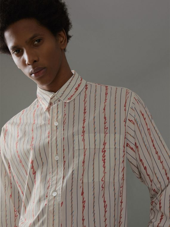 Scribble Stripe Cotton Shirt in Red
