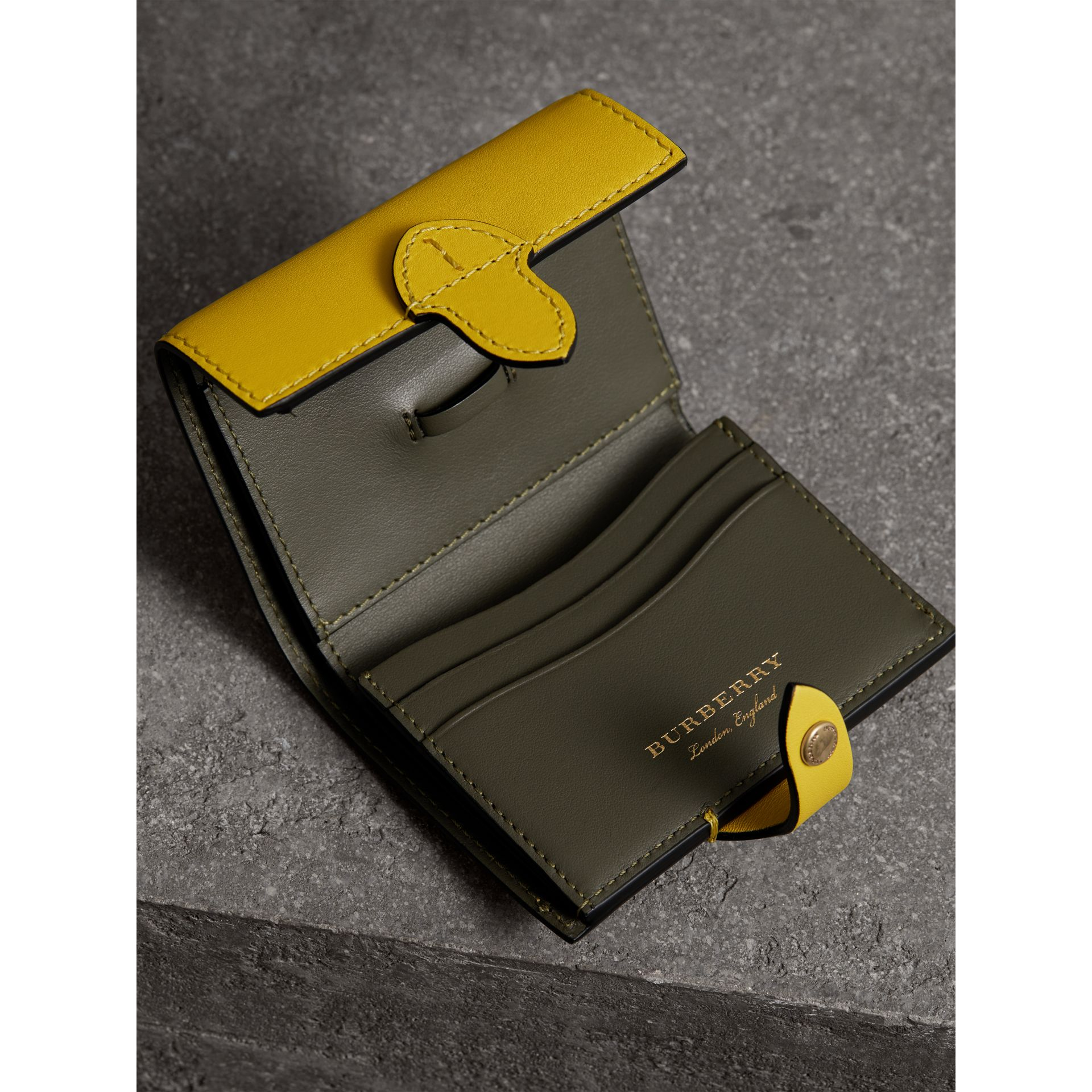 Equestrian Shield Leather Continental Wallet in Bright Larch Yellow - Women | Burberry United Kingdom - gallery image 3