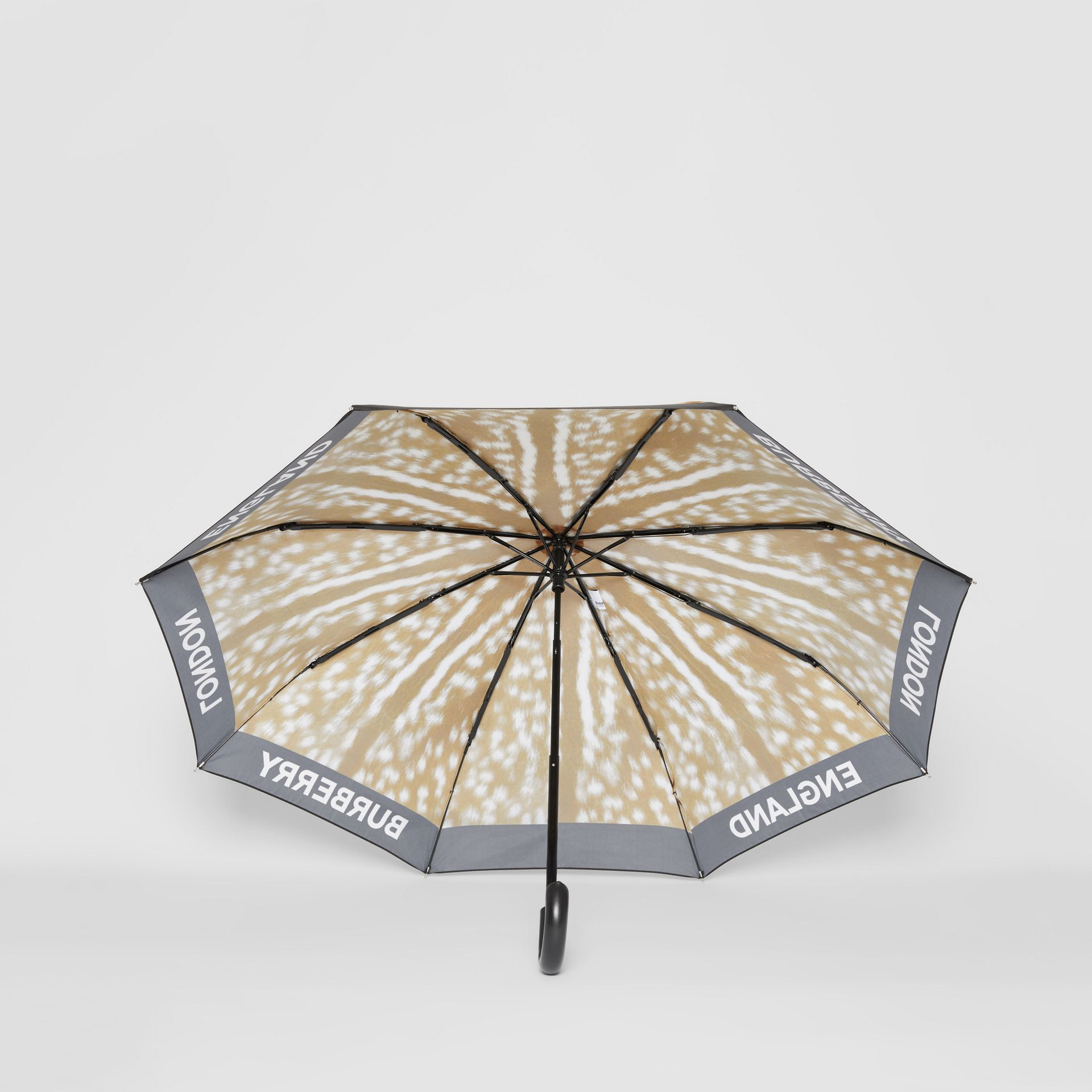 Deer Print Folding Umbrella in Honey | Burberry - gallery image 2