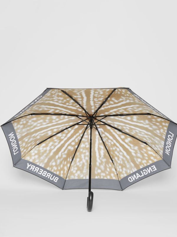 Deer Print Folding Umbrella in Honey | Burberry - cell image 2