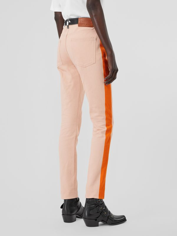 Straight Fit Cow Print Trim Japanese Denim Jeans in Pink - Women | Burberry United Kingdom - cell image 2