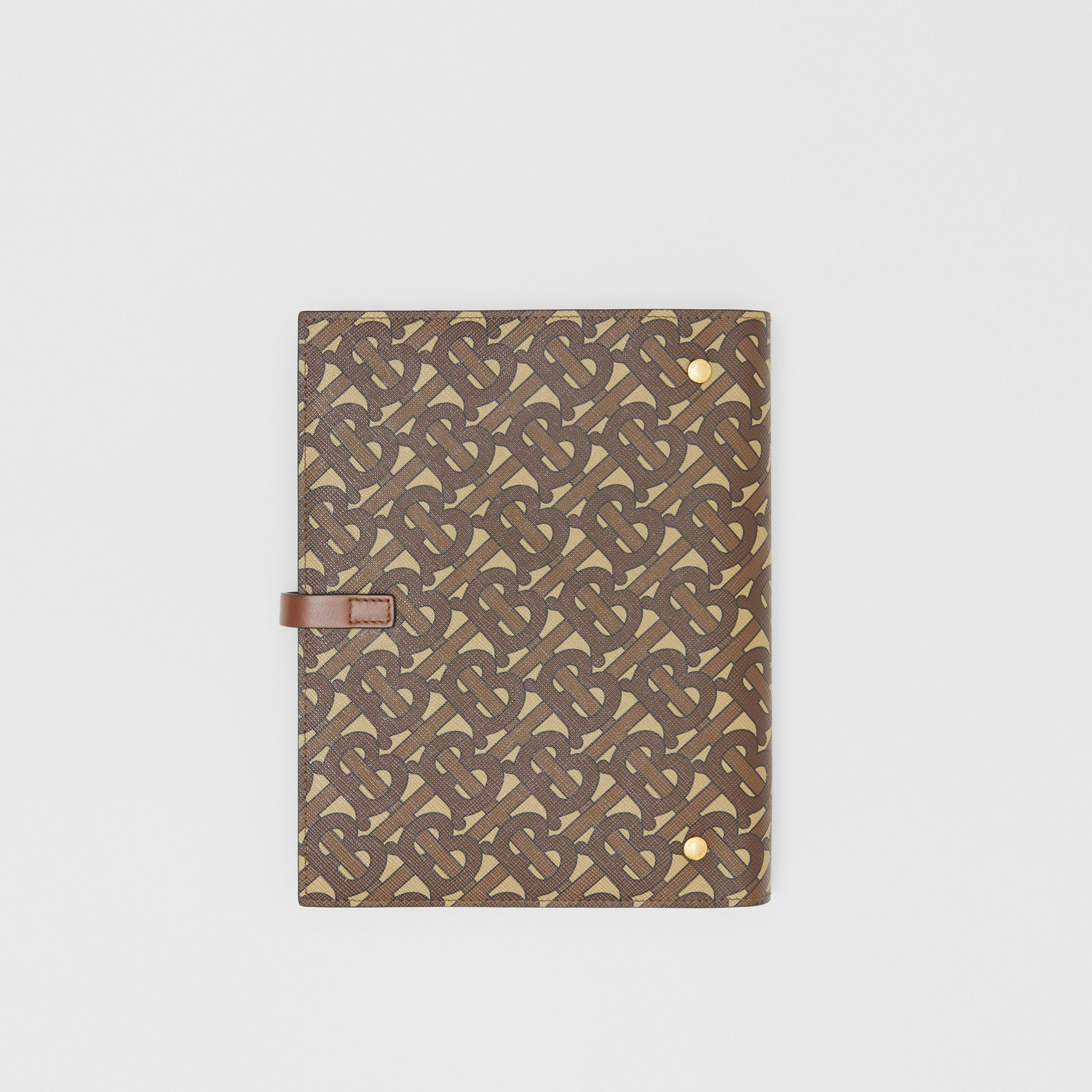 Monogram Print E-canvas Notebook Cover in Bridle Brown | Burberry Australia - 4