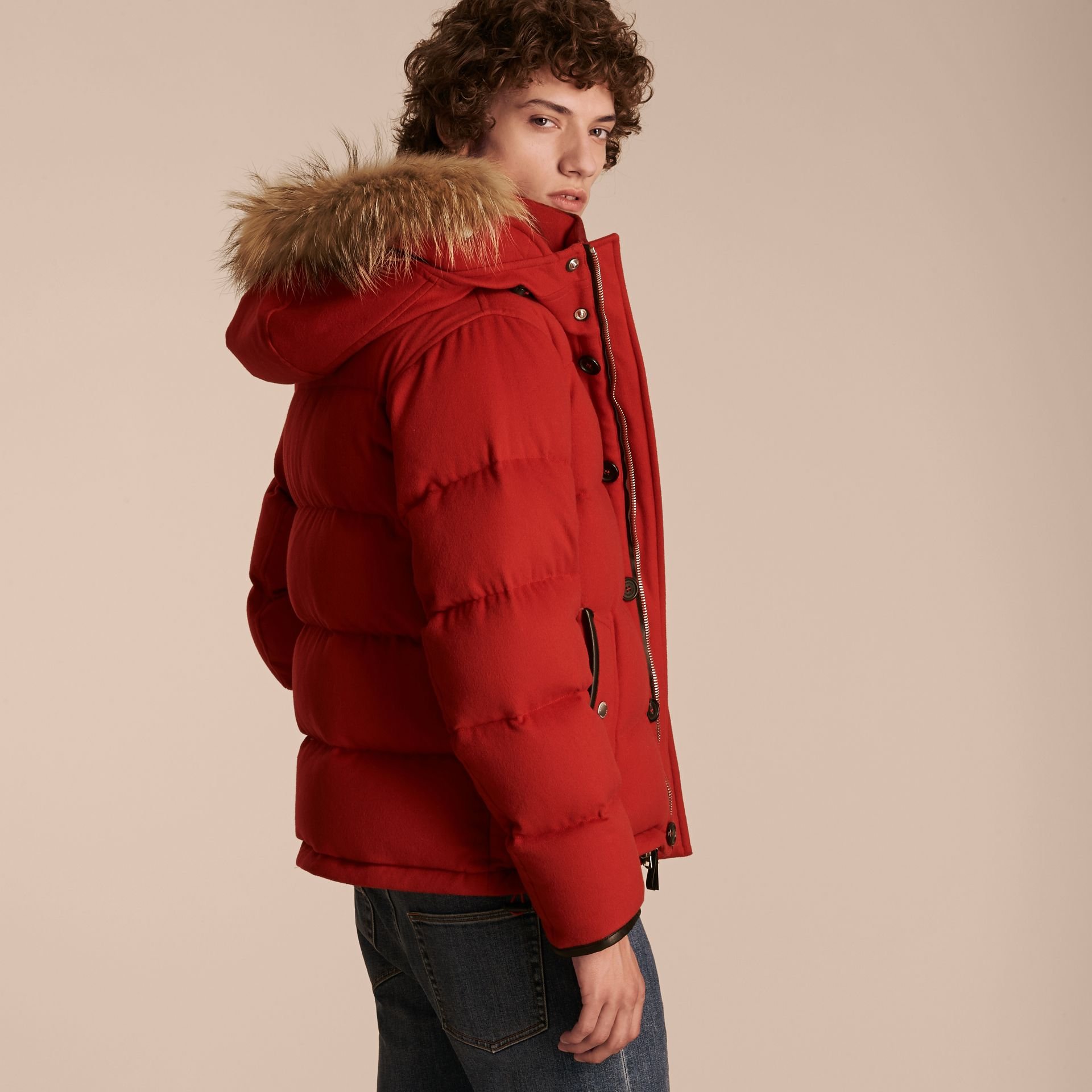 Down-filled Cashmere Jacket with Detachable Fur Trim in Parade Red - gallery image 3