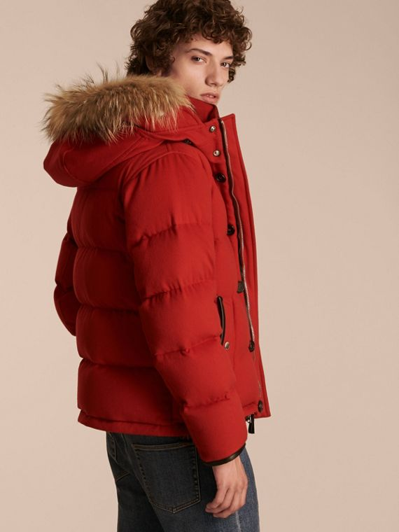 Down-filled Cashmere Jacket with Detachable Fur Trim in Parade Red - cell image 2