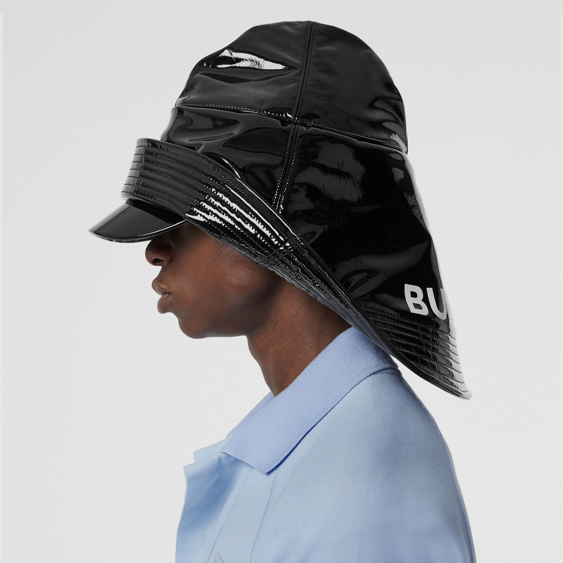 Logo Print Rain Hat in Black | Burberry - gallery image 3