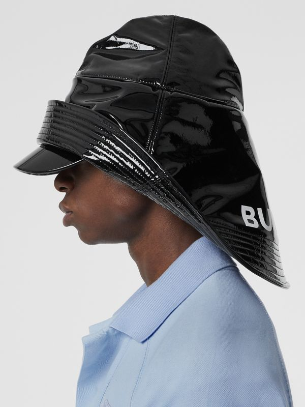 Logo Print Rain Hat in Black | Burberry - cell image 3