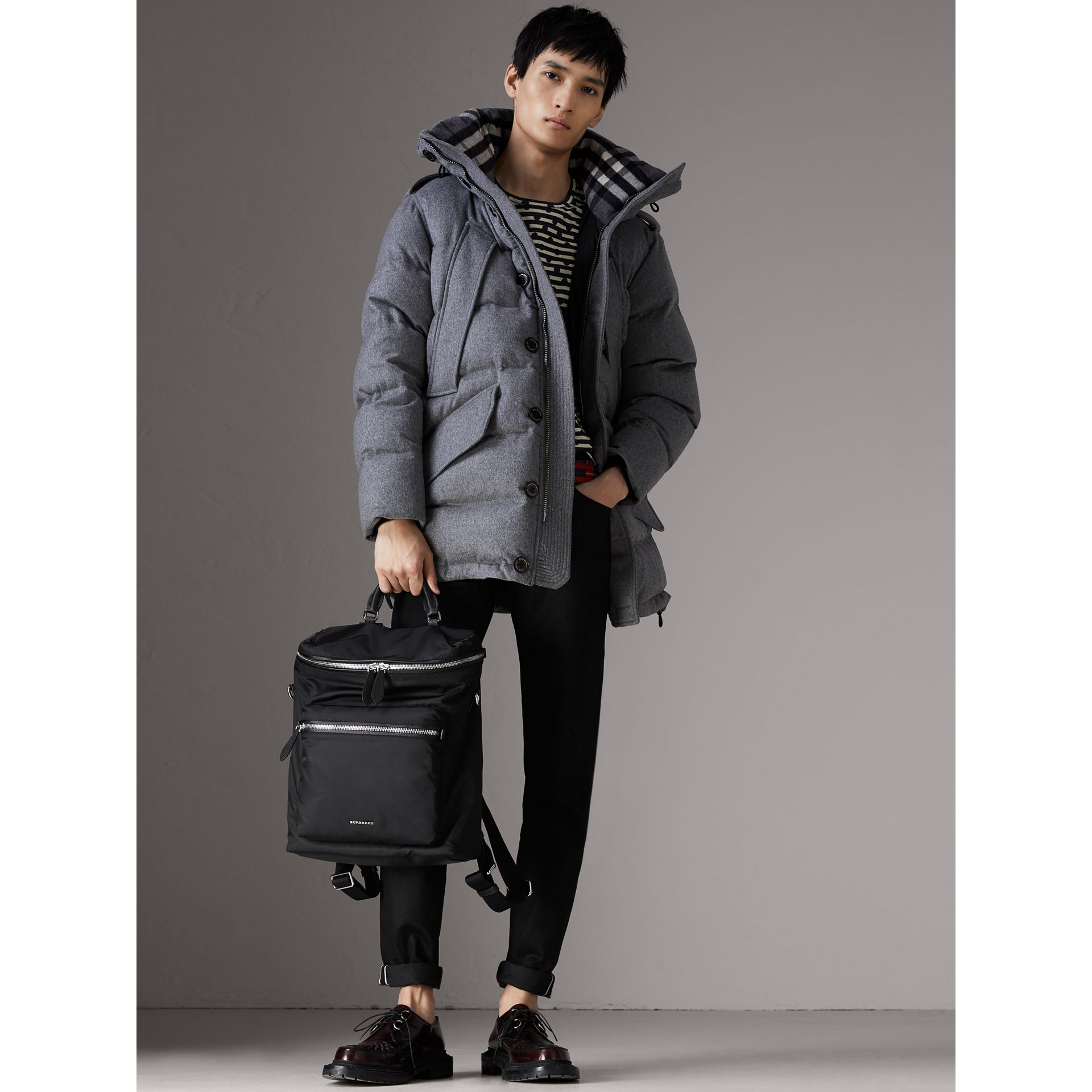 Zip-top Leather Trim Showerproof Backpack in Black - Men | Burberry United States - gallery image 2