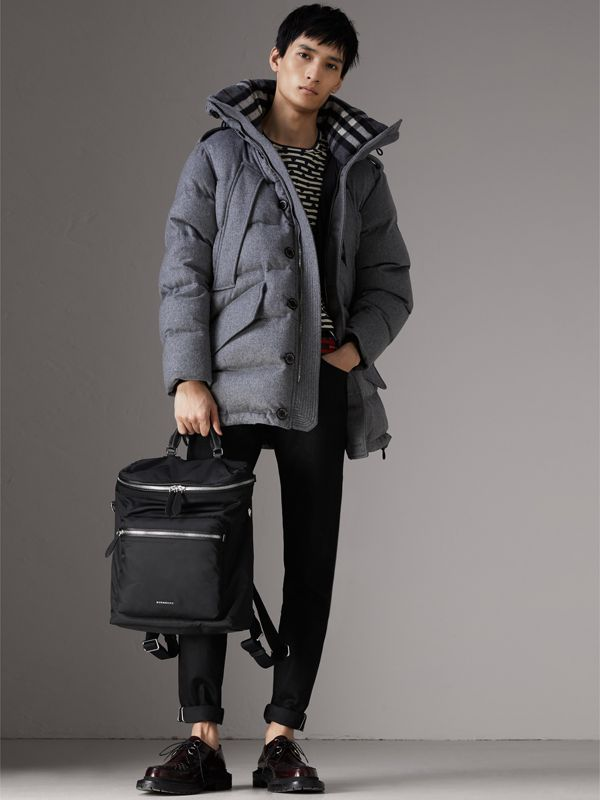 Zip-top Leather Trim Showerproof Backpack in Black - Men | Burberry Singapore - cell image 2