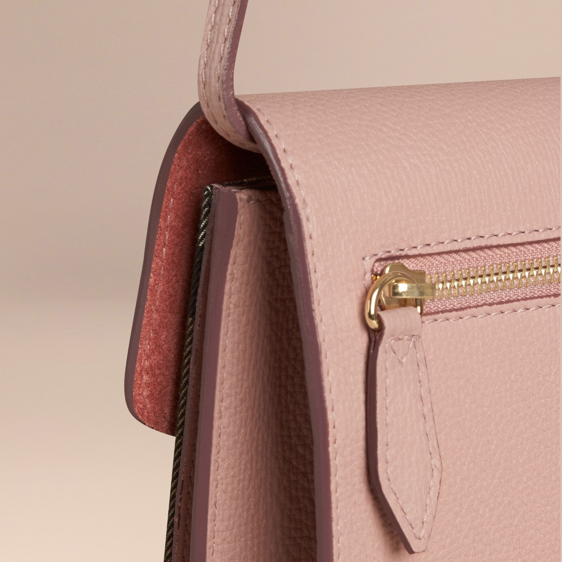 Small Leather and House Check Crossbody Bag in Pale Orchid - gallery image 5