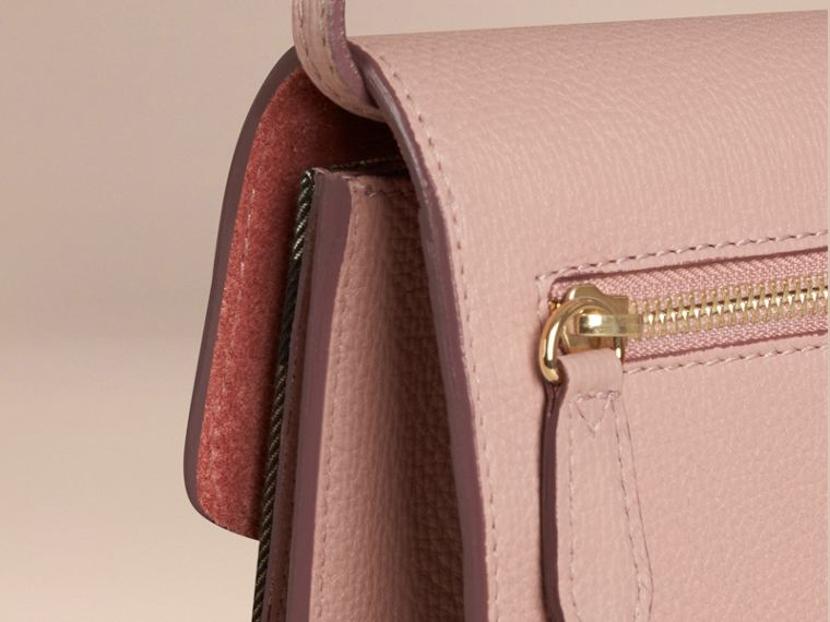 Small Leather and House Check Crossbody Bag in Pale Orchid - cell image 4