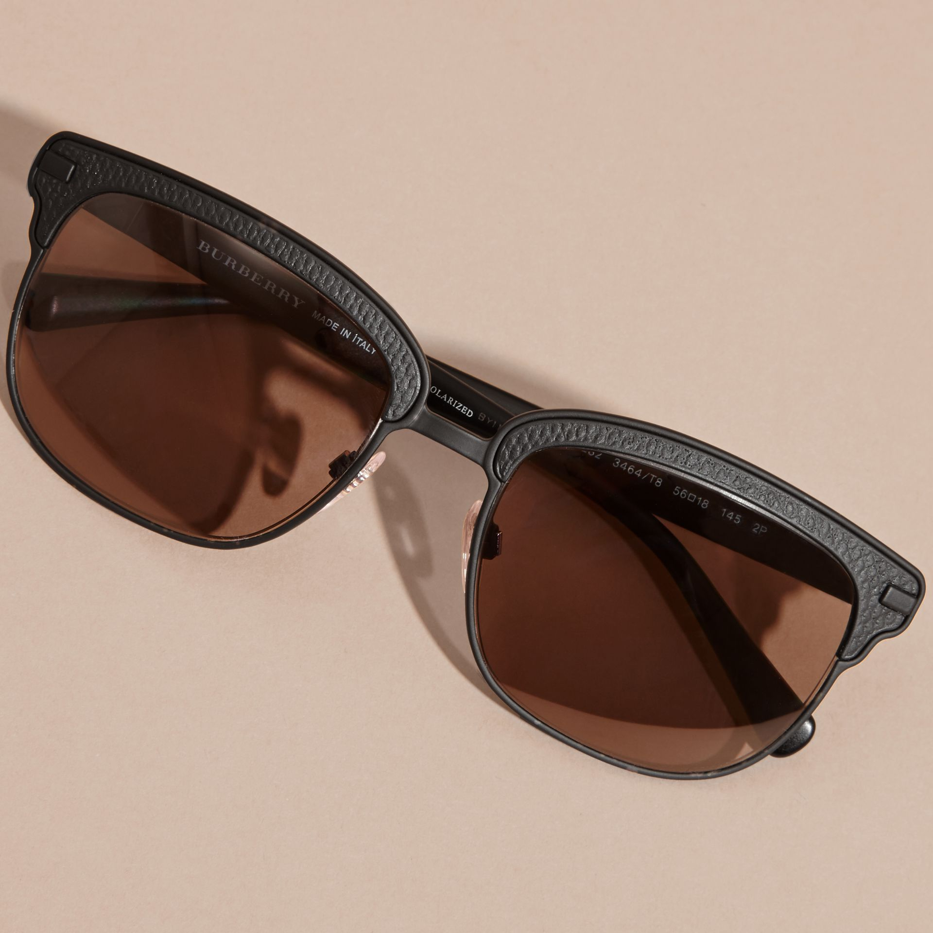 Textured Front Square Frame Sunglasses in Black - Men | Burberry Australia - gallery image 5
