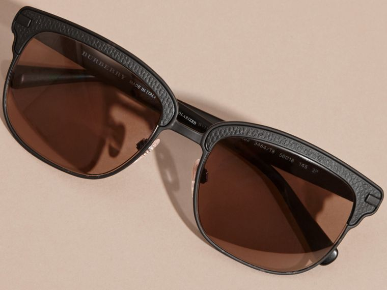 Textured Front Square Frame Sunglasses in Black - Men | Burberry - cell image 4