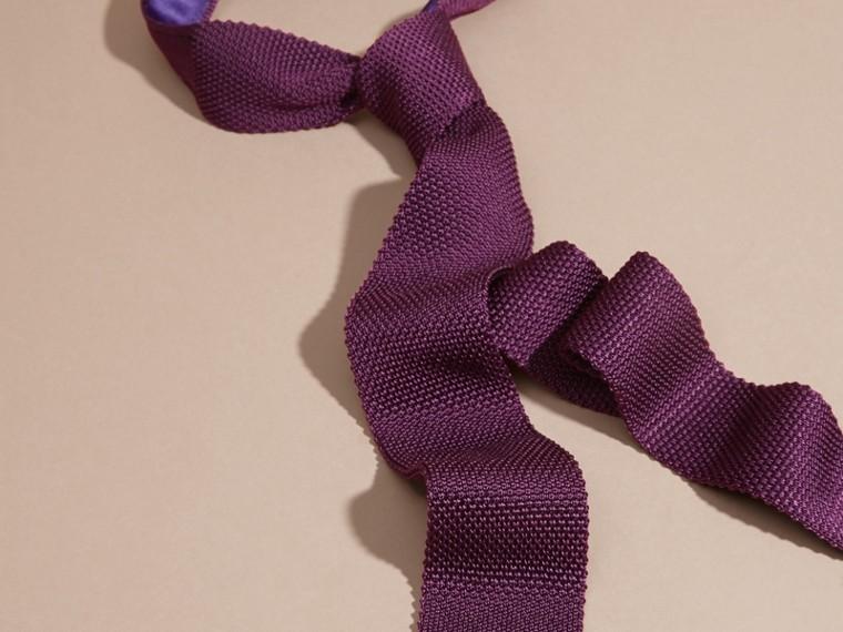 Dark purple Slim Cut Knitted Silk Tie Dark Purple - cell image 2