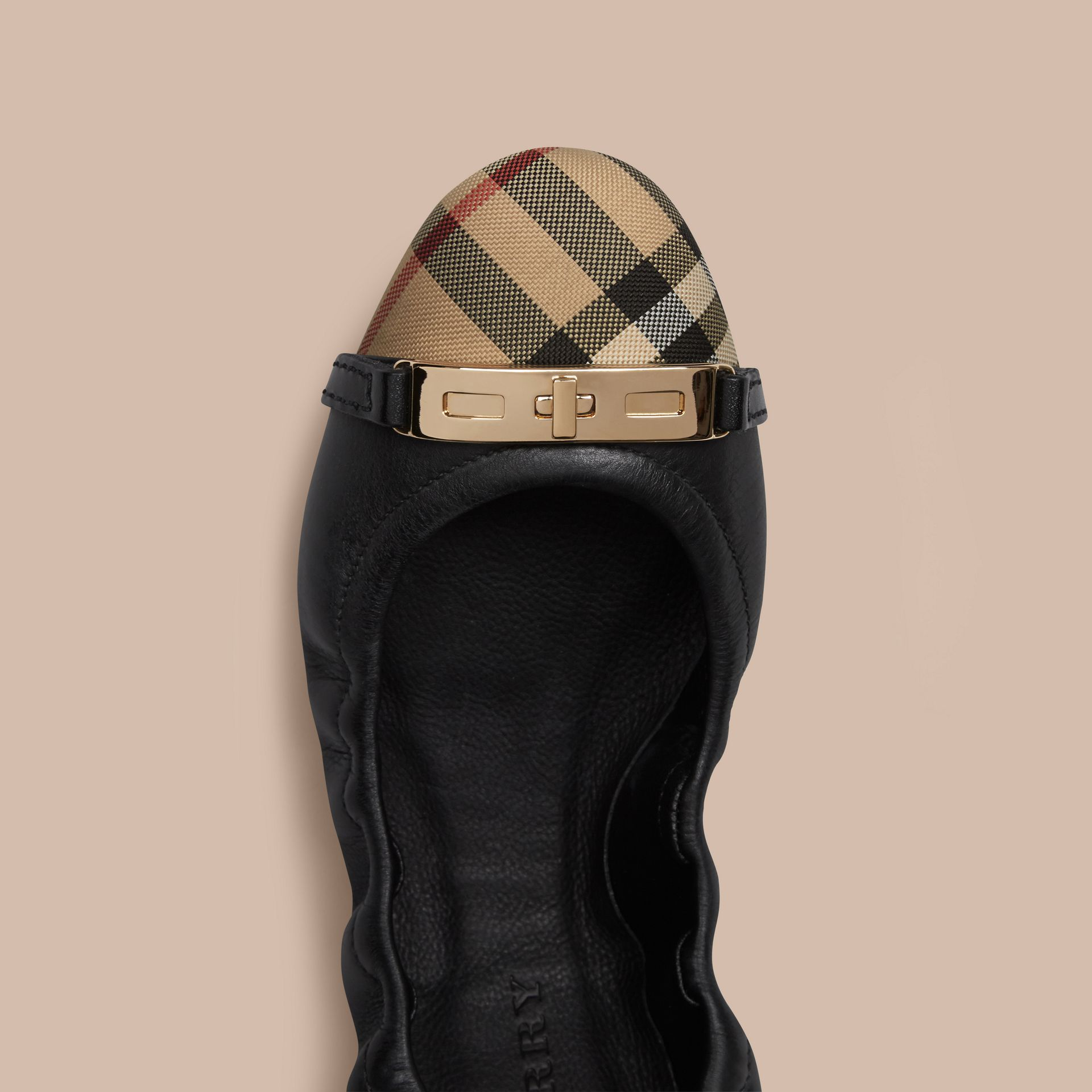 Horseferry Check Leather Ballerinas in Black - gallery image 5