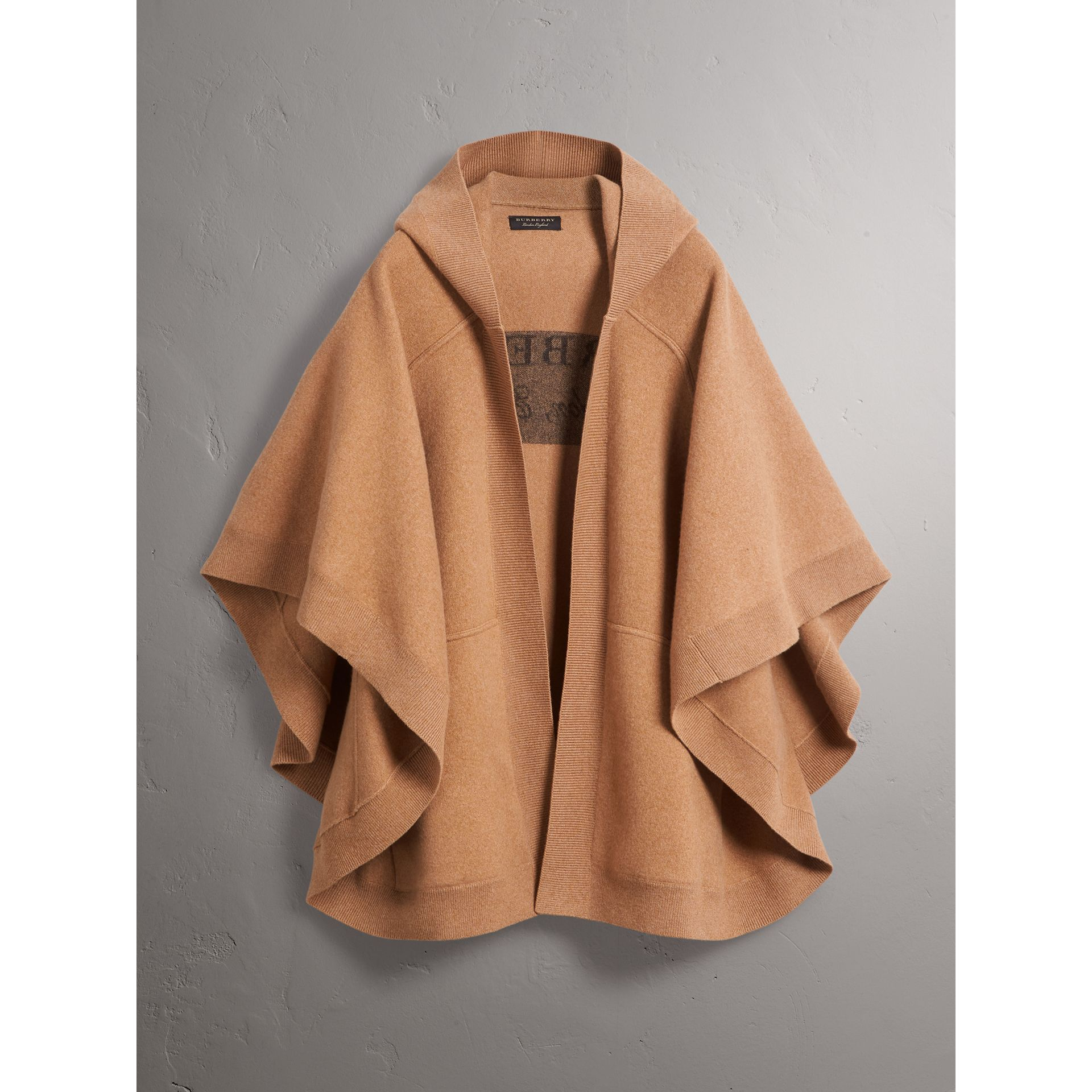 Wool Cashmere Blend Hooded Poncho in Camel - Women | Burberry Singapore - gallery image 4