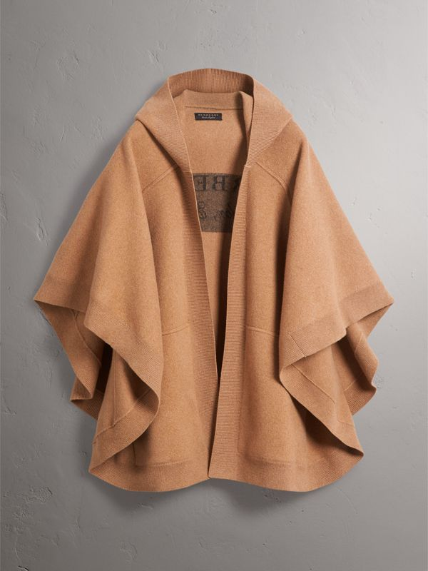 Wool Cashmere Blend Hooded Poncho in Camel - Women | Burberry - cell image 3