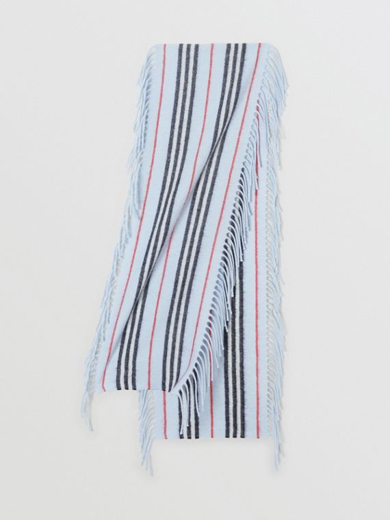 Fringed Icon Stripe Cashmere Scarf in Pale Blue