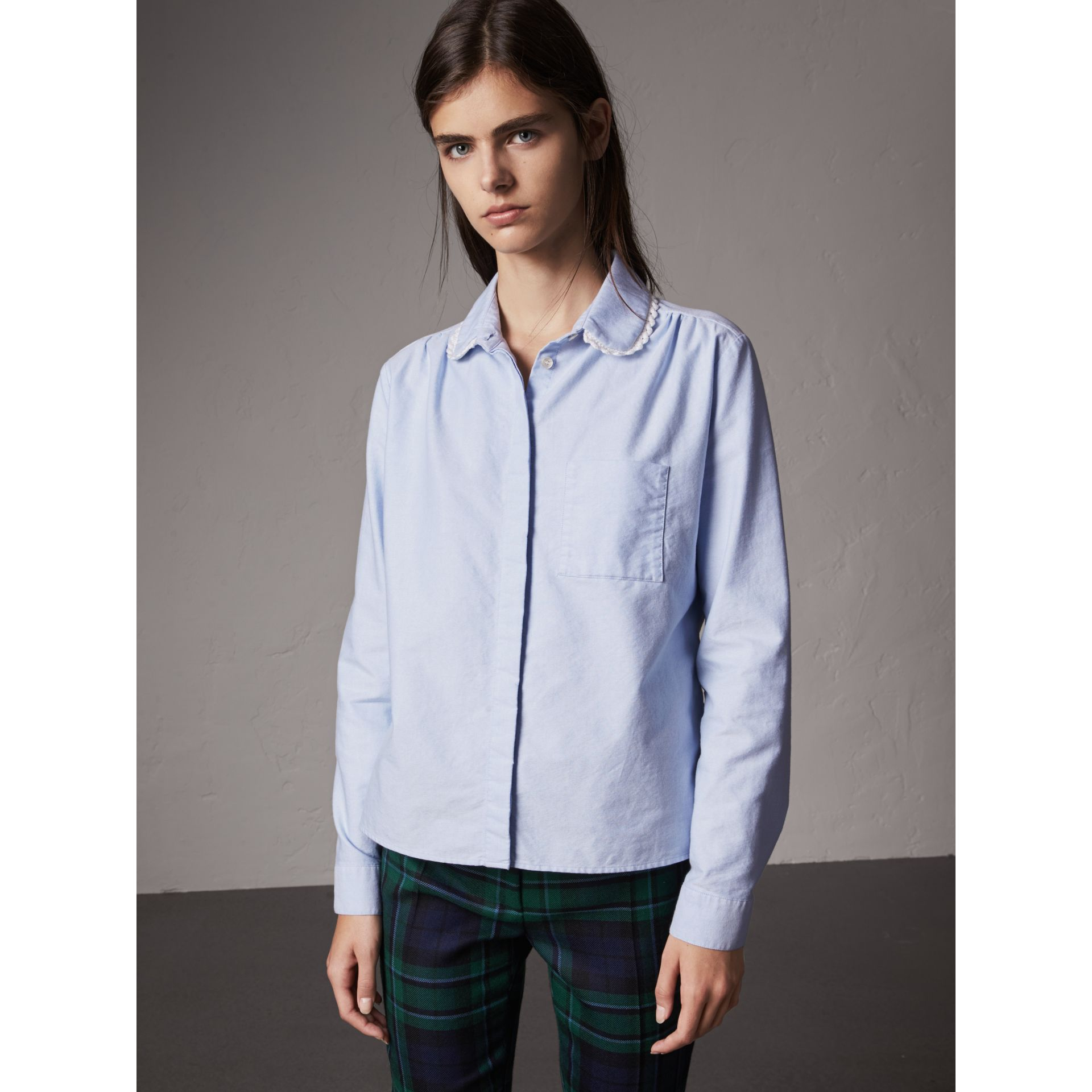 Lace-trimmed Round Collar Cotton Shirt in Cornflower Blue - Women | Burberry - gallery image 0