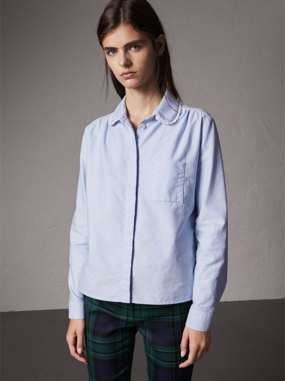 Lace-trimmed Round Collar Cotton Shirt in Cornflower Blue