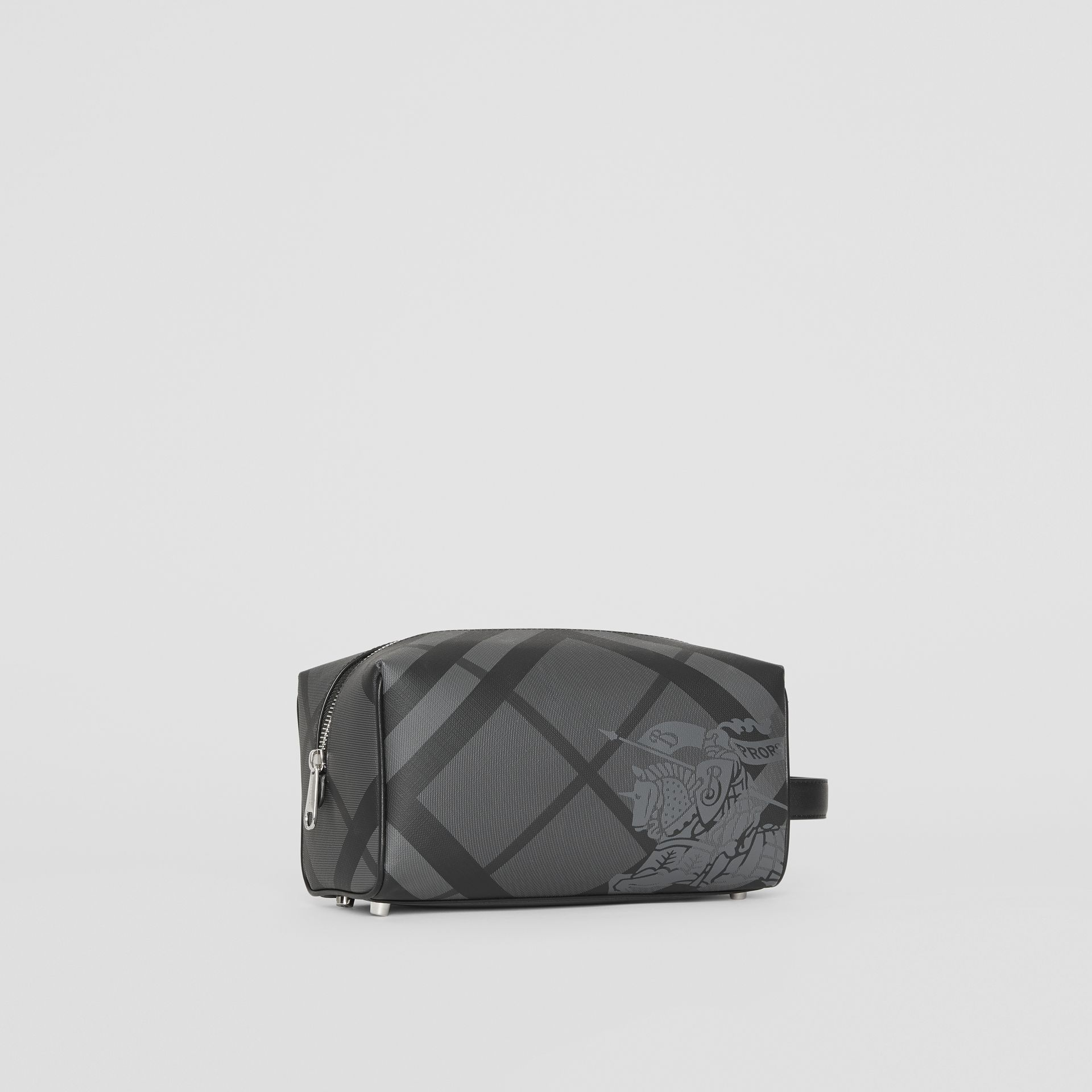 EKD London Check and Leather Pouch in Charcoal/black - Men | Burberry Singapore - gallery image 6