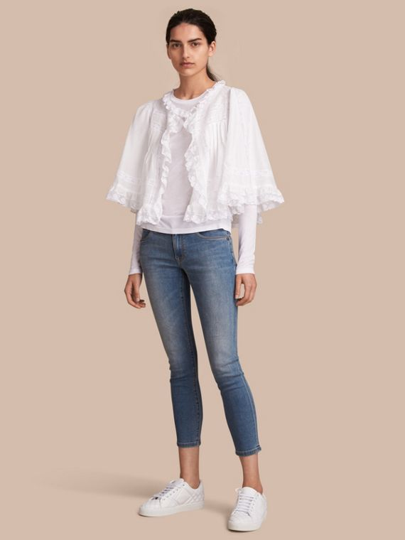 Lace Detail Ruffle Cape Overlay Long-sleeve Cotton Top
