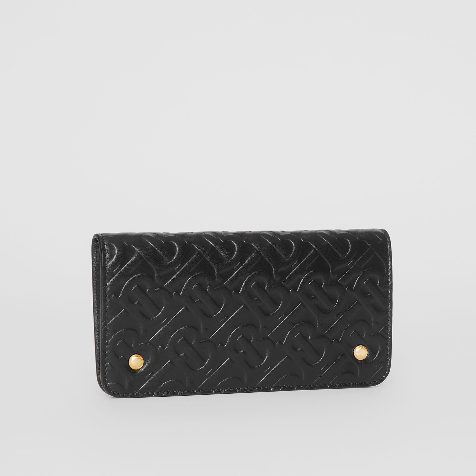 Monogram Leather Phone Wallet in Black | Burberry - gallery image 3