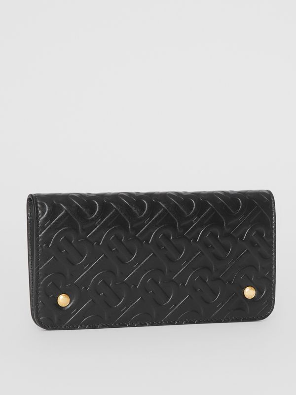 Monogram Leather Phone Wallet in Black | Burberry Canada - cell image 3