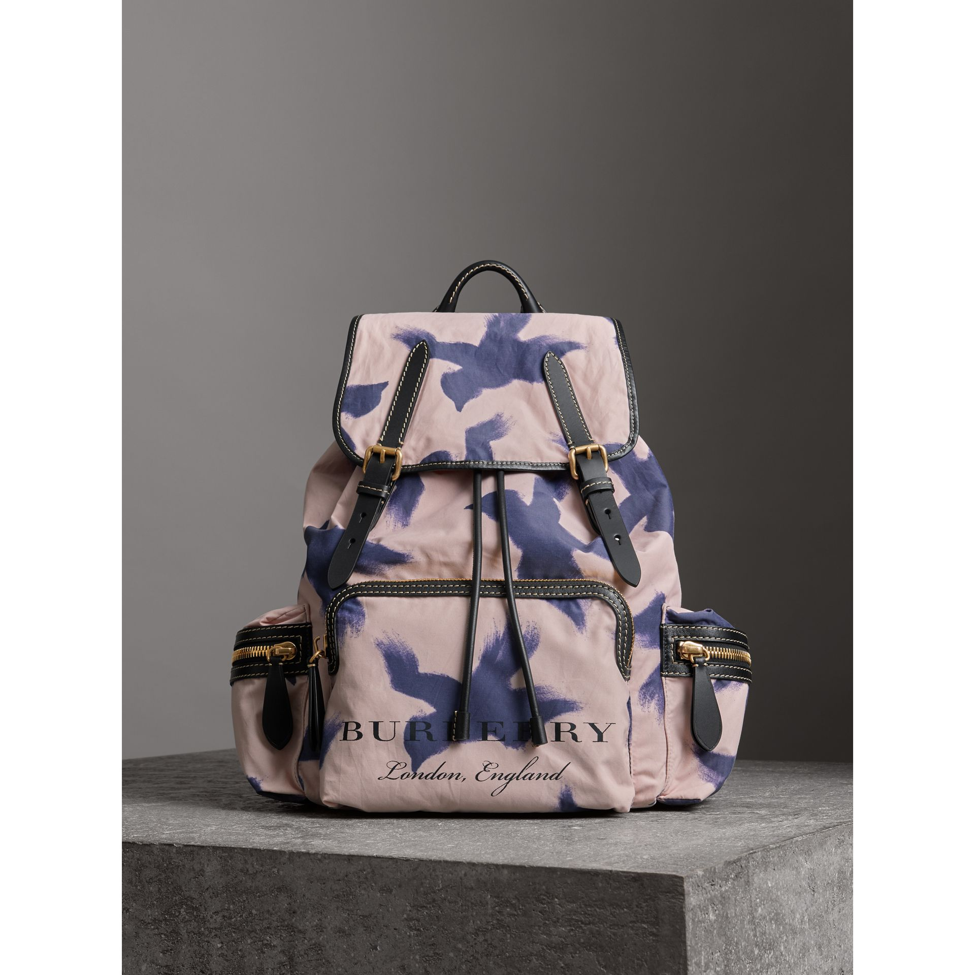 The Large Rucksack in Bird Print Canvas and Leather in Multicolour - Men | Burberry United States - gallery image 6