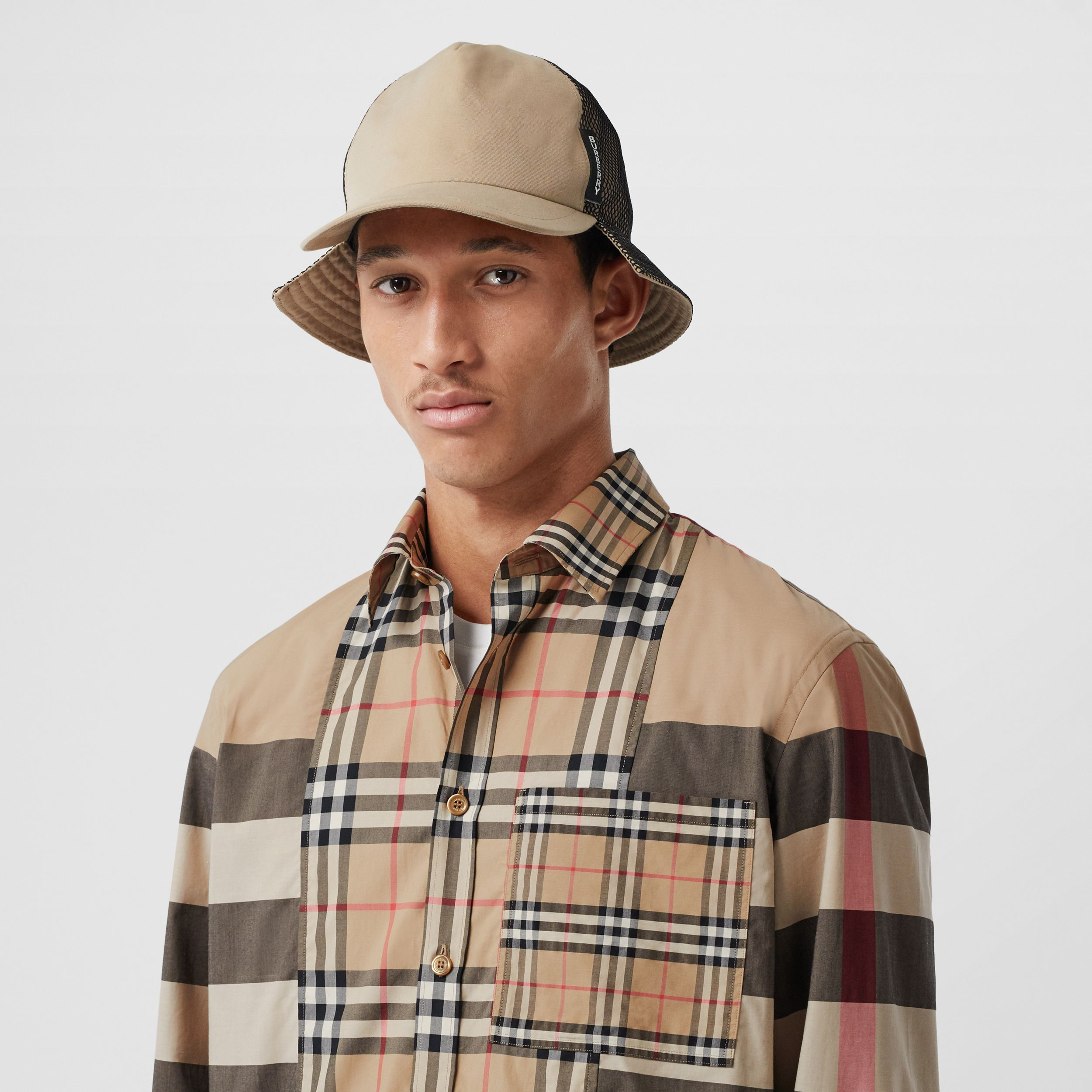 Patchwork Check Stretch Cotton Poplin Shirt in Archive Beige - Men | Burberry Australia - 2