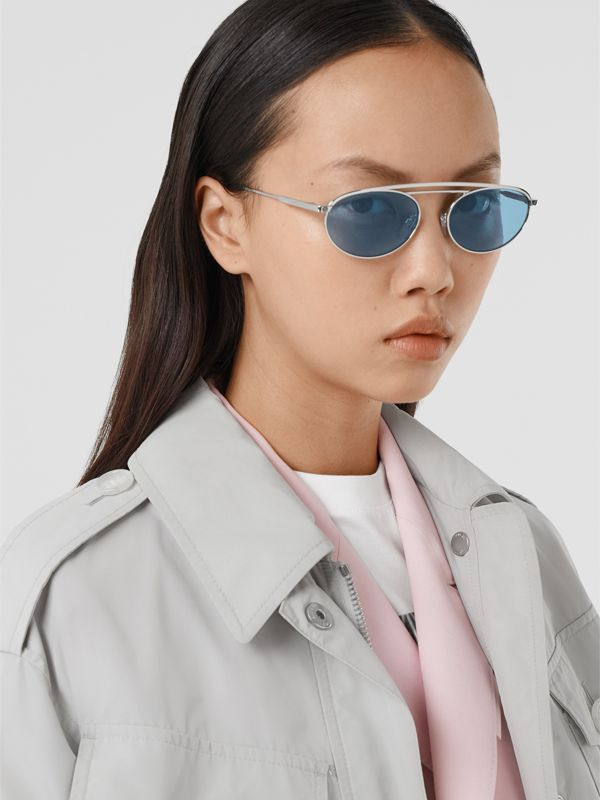 Oval Frame Sunglasses in Light Blue - Women | Burberry - cell image 2
