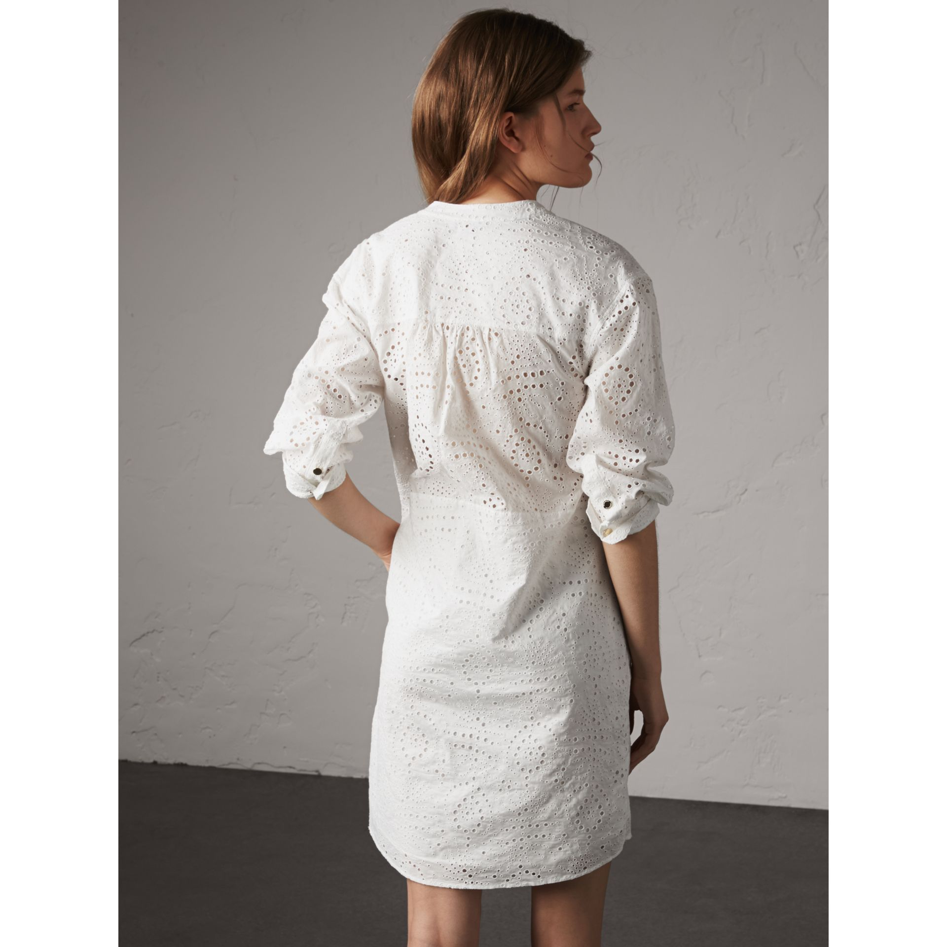 Collarless Broderie Anglaise Shirt Dress in White - Women | Burberry - gallery image 5