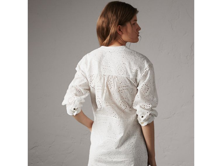 Collarless Broderie Anglaise Shirt Dress in White - Women | Burberry - cell image 4