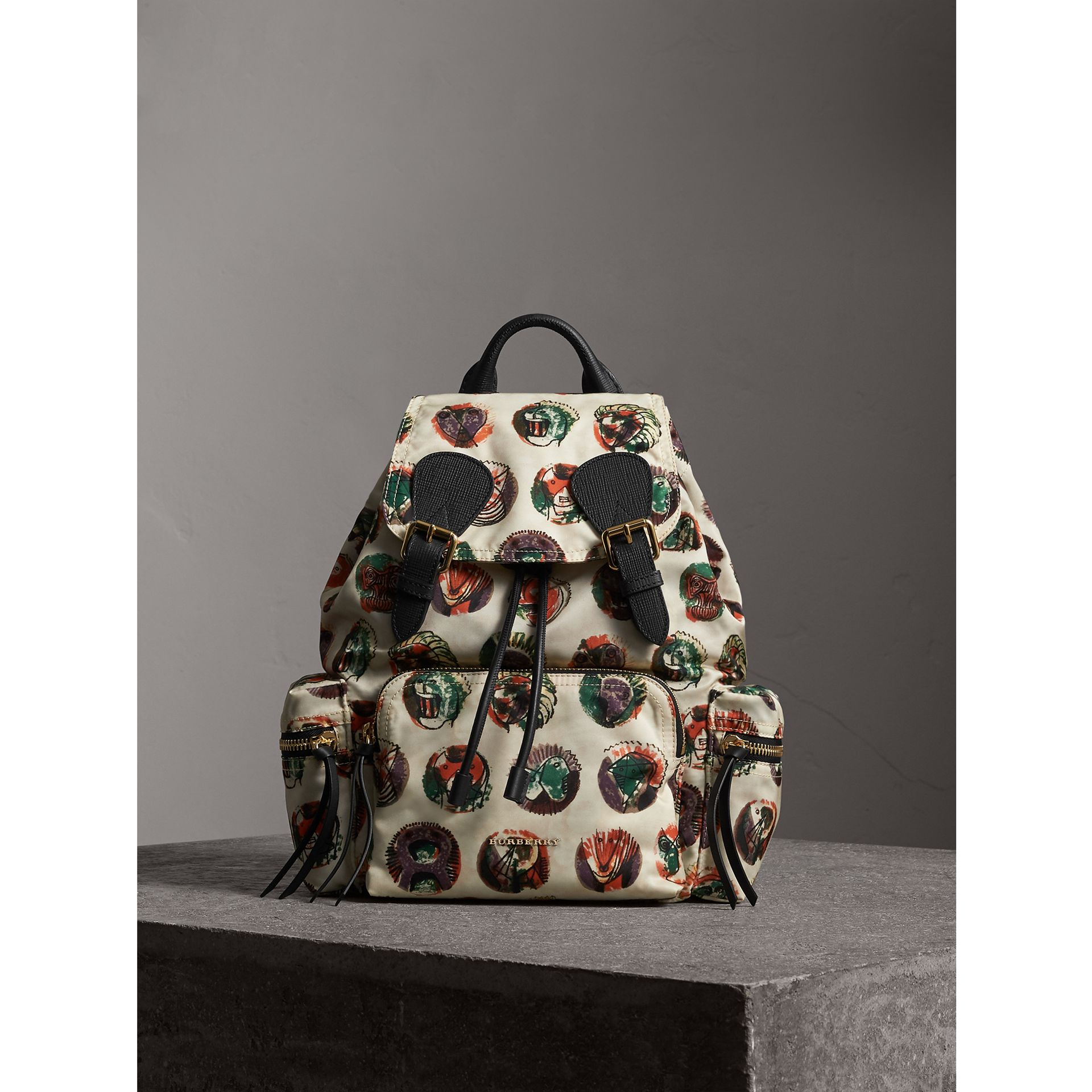 The Medium Rucksack in Technical Nylon with Pallas Heads Print in Natural White - Women | Burberry Australia - gallery image 6