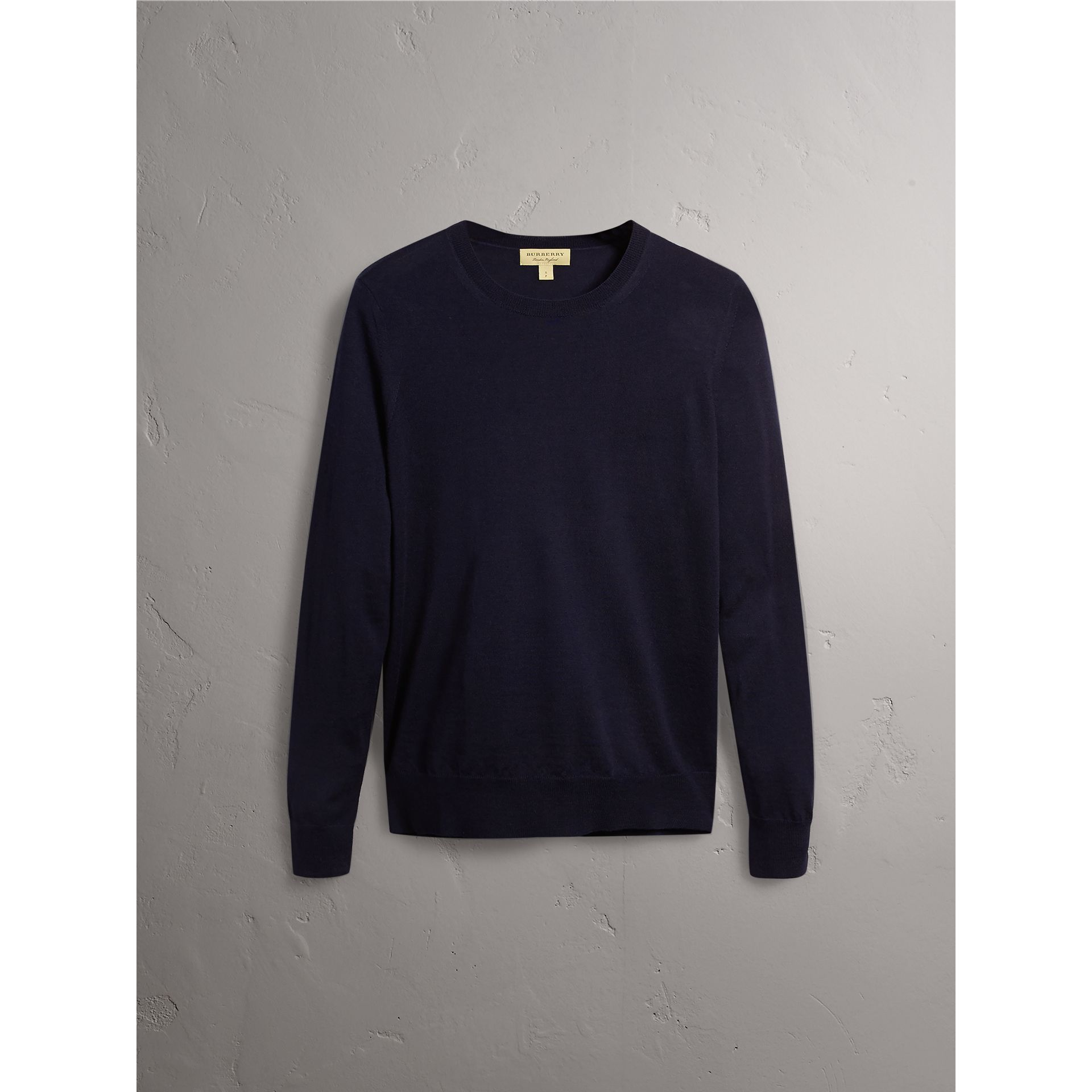 Check Detail Merino Wool Crew Neck Sweater in Navy - Women | Burberry Canada - gallery image 3