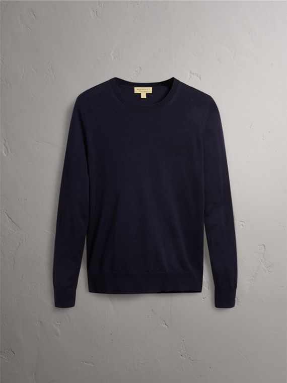 Check Detail Merino Wool Crew Neck Sweater in Navy - Women | Burberry United Kingdom - cell image 3