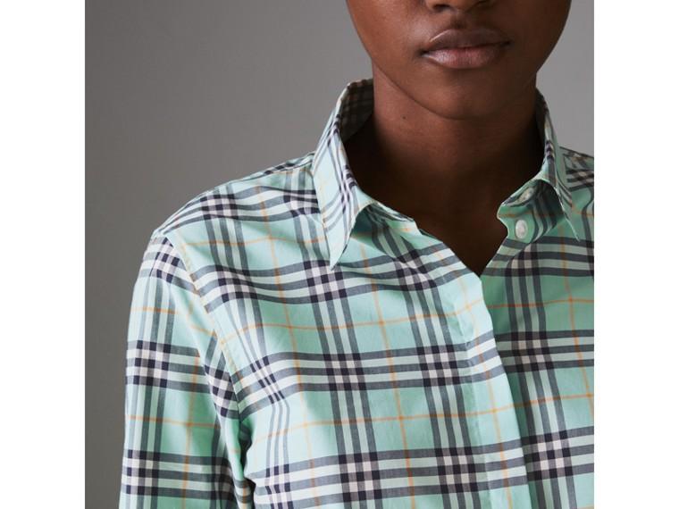 Check Cotton Shirt in Bright Aqua - Women | Burberry Canada - cell image 1