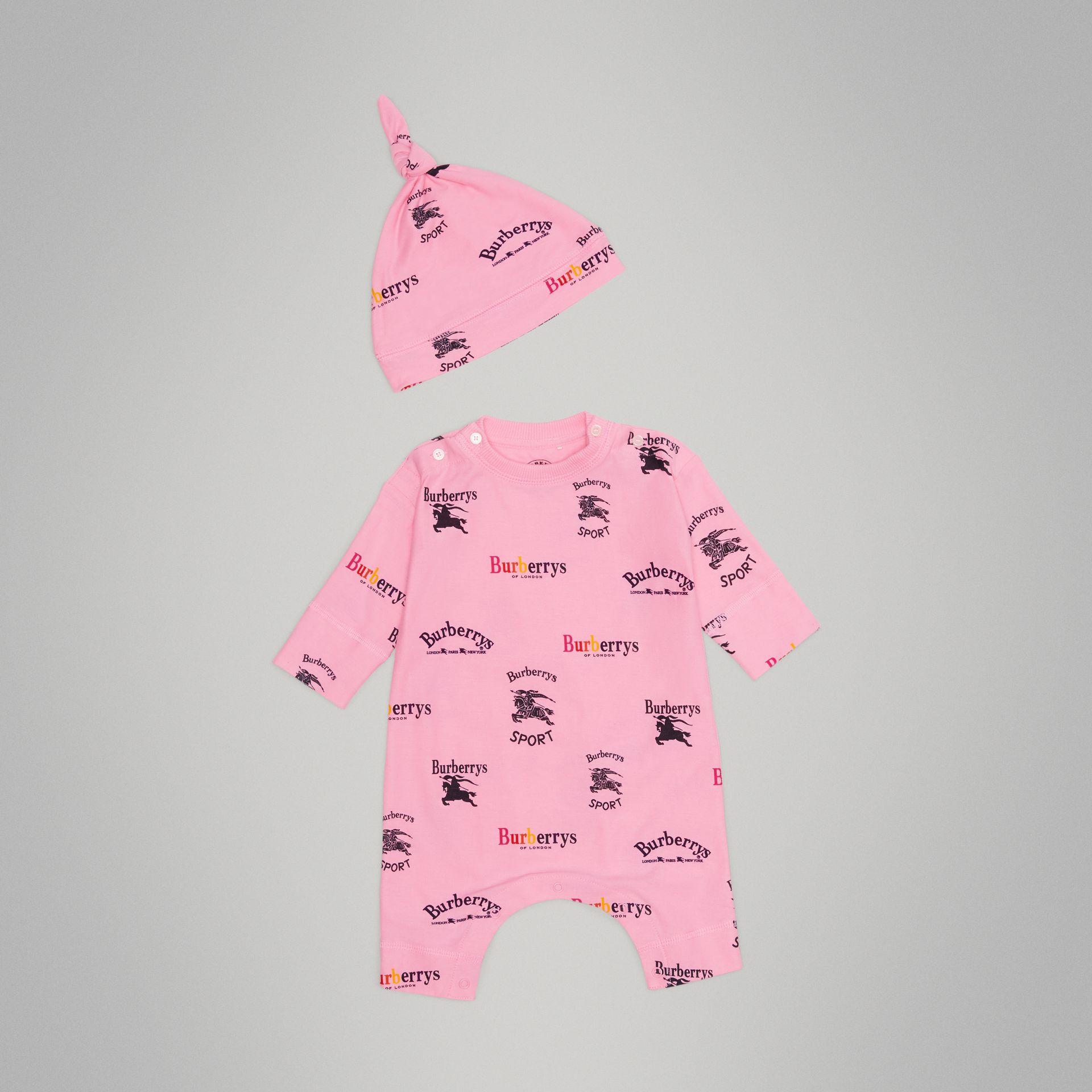 Archive Logo Two-piece Baby Gift Set in Neon Pink - Children | Burberry United Kingdom - gallery image 0