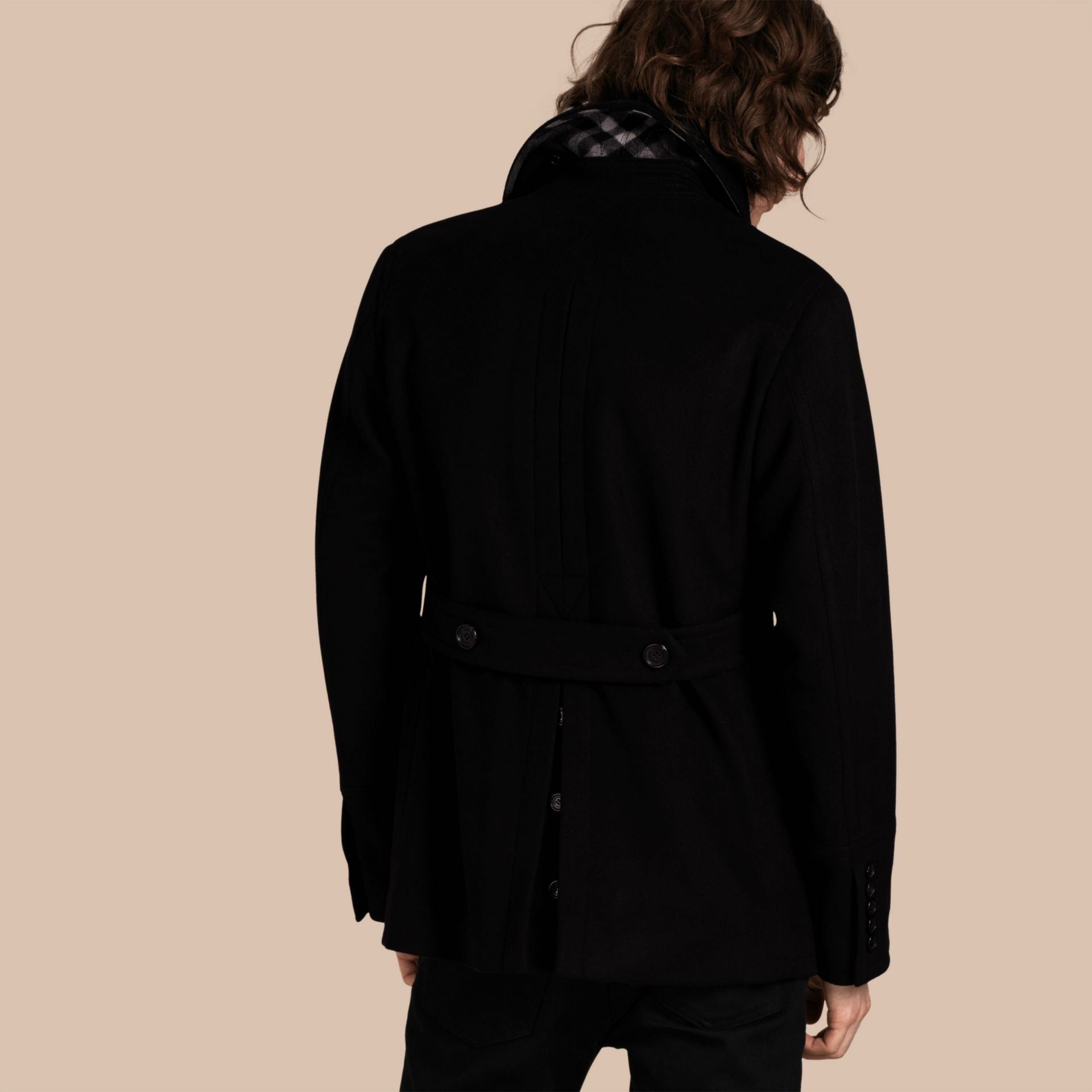 Black Wool Cashmere Pea Coat Black - gallery image 3